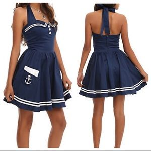 Hello Bunny Vixen Sailor Skull Halter Pin Up Dress